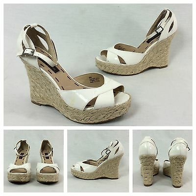 Ruby & Bloom New White Patent Leather Espadrille Strappy Platform Wedge Heels 8