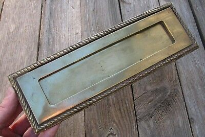 Vintage Reclaimed Solid Brass Letter Box Plate / Door Mail Slot / Mailbox