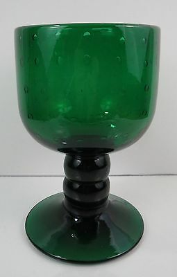 Old BLENKO FOREST GREEN BUBBLE GIANT GOBLET Water Wine