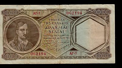 GREECE  1000  DRACHMAI  1947  PICK # 180a  F-VF BANKNOTE.