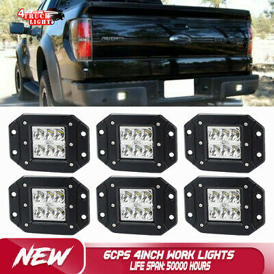 8PCS 4inch 18W LED Work Light Bars SUV Jeep Spot Fog Offroad Driving Lamps