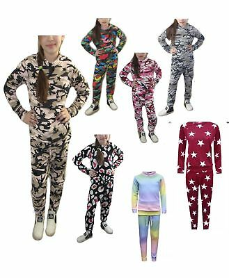 Girl's Kids Co-ord Army Camo Print Loungewear Tracksuit Outfit Set Ages 2-13