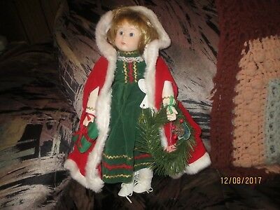 Vintage Brinn Musical Porcelain CHRISTMAS Doll 1986  rare PLAYS SILENT NIGHT