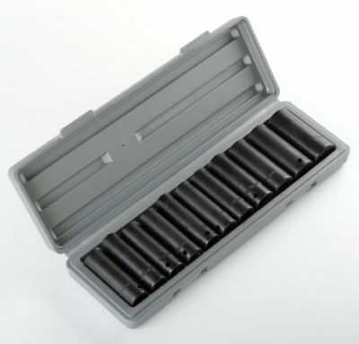 "New 12pc 1/2"" Dr Drive Deep Air Impact Socket Sockets Set Metric w/CASE"