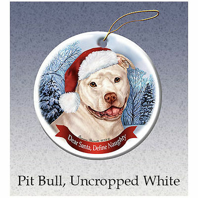 Pit Bull White Uncropped Howliday Porcelain China Dog Christmas Ornament