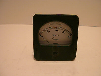 """Simpson Model 25 Direct Current Volts 0-80 Analog Panel Meter Square 3"""" X 3"""""""