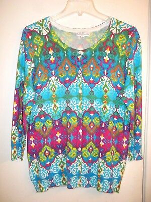 Joseph A. Large Multi-Color Stained Glass Print 3/4 Sleeve Rayon Cardigan
