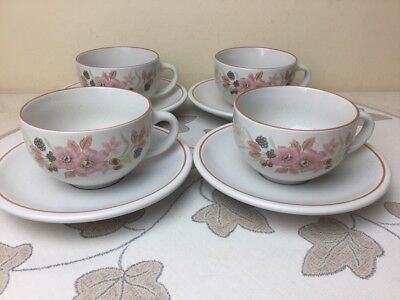 Boots Hedge Rose 4 x Cups & Saucers Lovely Condition