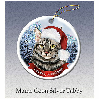 Maine Coon Silver Tabby Cat Howliday Porcelain China Dog Christmas Ornament