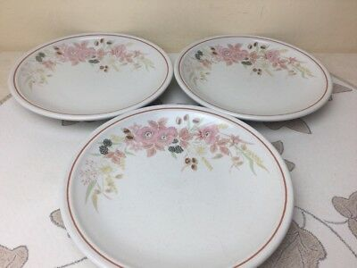 Boots Hedge Rose 3 x Side Plates 19cm Used