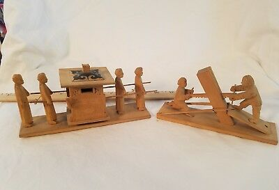 Two Carved Chinese Vintage Antique SImple Mechanical Toys Vintage Beautiful Art