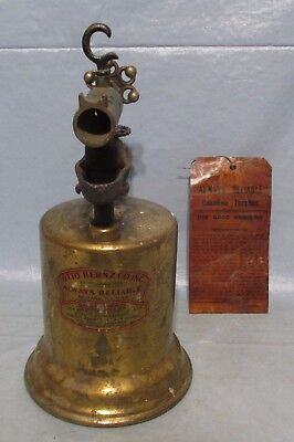 Vtg Antique Plumbers Gas/Gasoline Torch OTTO BERNZ CO. INC. Always Reliable