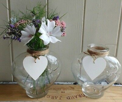 2 X Shabby Chic Glass Vintage Heart Vases With Wooden Hearts Twine