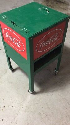 Coca-Cola-Green-Red-Metal-Rolling-Ice-Box-Cooler-Cart-Collectible New In Box