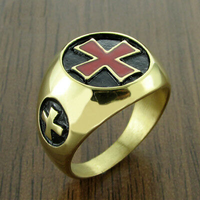 Knights Templar Red Celtic Iron Cross Crusades Masonic Gold Plated Men 8-13 Ring