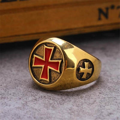 Knights Templar Celtic Iron Red Cross Crusades Masonic Gold Plated Men 7-14 Ring