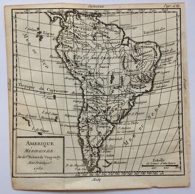 South America Dated 1750 By Robert De Vaugondy Antique Copper Engraved Map