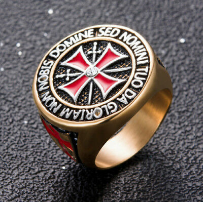 Round Knight Templar Red Celtic Iron Cross Crusades Masonic Gold Tone Men's Ring