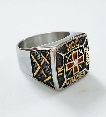 Square Knights Templar Iron Red Cross Crusades Masonic Silver Plated Men's Ring