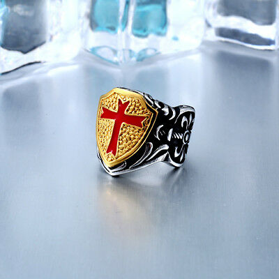 Knight Templar Sword Shield Red Cross Crusades Masonic Silver&Gold Tone Men Ring