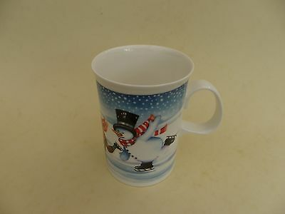 """Dunoon Scotland """"Mister Snowman"""" Ice Skating Mug by Ruth Boden, 4""""tall."""