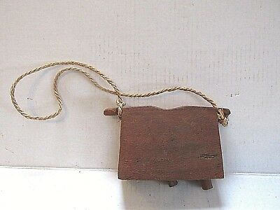 Wooden Livestock Bell Antique Hand Carved Asian Unique Rare