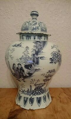 Antique Dutch Delft Chinese Style Vase and Cover C.1690-1710