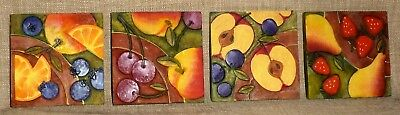 Set 8~HAND PAINTED MARBLE DUST COMPOSITE COASTERS w/ 4 DIFFERENT DESIGNS~FRUIT
