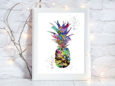 pineapple a4 glossy poster Print picture,gift watercolour wall art unframed