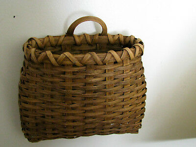 Premium Excellent Signed Basket*wicker*handle*8 Inch*wall Hanging* Free Shipping