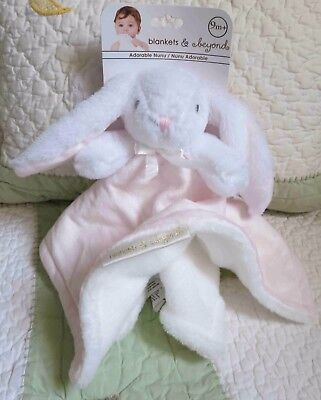 Blankets and Beyond Pink White Nunu Bunny Rabbit Baby Girl Security Blanket NWT