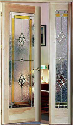 Pe-hung Interior door with matching sidelight  with Leaded glass panels WOW