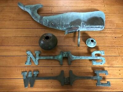 "Large 24"" Antique Whale Copper Weathervane N-S-E-W and Balls"