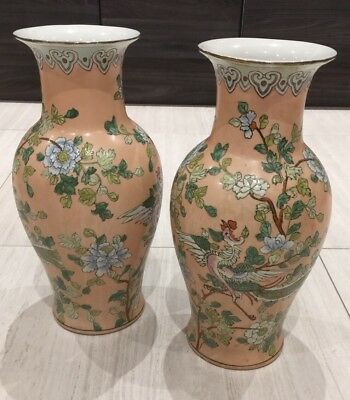 X2 Hand painted Chinese Vase Beautiful Rare