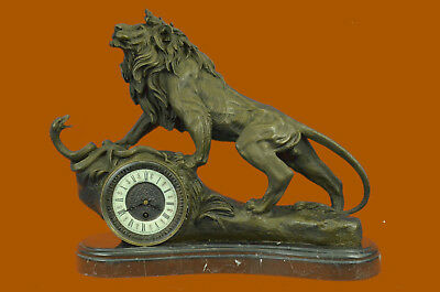 Hand Made Vintage Ormolu bronze lion french mantel clock Antique Reproduction