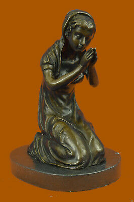 Hand Made bronze sculpture Marble Praying Mary Virgin Mother Blessed UG