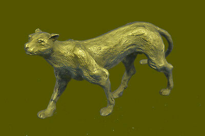 Hand Made BEST QUALITY Decor BRONZE PANTHER COUGAR SIGNED BRONZE STATUE UG