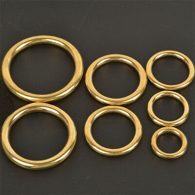 7-50mm Pure Brass Hoop Welded Ring Seamless Solid Round For Craft Decor Pet US