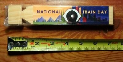 RARE! New Amtrak National Train Day 2013 Wooden Train Whistle (unused in wraper)