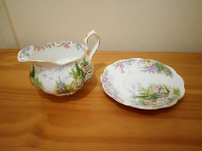 Rare Royal Albert Kentish Rockery Gravy Sauce Boat Dish And Plate