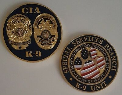 """CIA Central Intelligence Agency Special Services Branch K9 Canine Coin 1.75"""""""