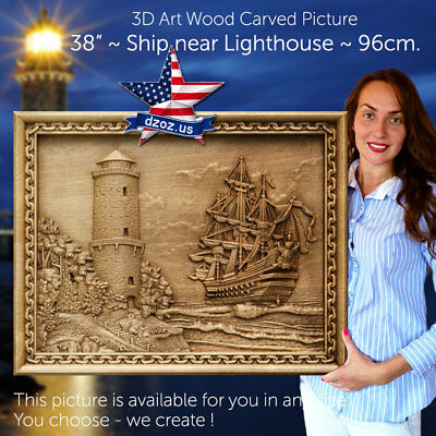 """38"""" / 960mm✅Wood carved 3D ART❤️️Ship near Lighthouse✅picture paiting-icon-frame"""