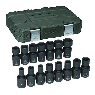 "GearWrench 15-Pc 1/2"" Dr. 6-Pt Metric Universal Impact Socket Set 84939N New"