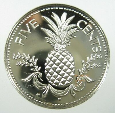Bahamas Islands 5 Cent 1966 - 1985 Gem Proof Pineapple Fruit World Coin ✪