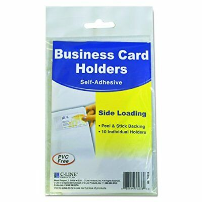 C-Line 70238 Self-Adhesive Business Card Holders Side Load 3 1/2 x 2 Clear Pa...