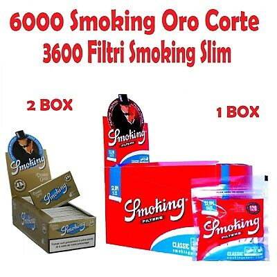 6000 CARTINE SMOKING ORO CORTE .GOLD + 3600 FILTRI SMOKING SLIM 6mm
