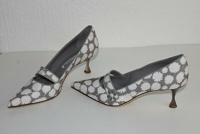 42c3eac65 NEW MANOLO BLAHNIK BB Heels PUMPS MARY JANE Grey White Canvas Shoes 40 40.5  41