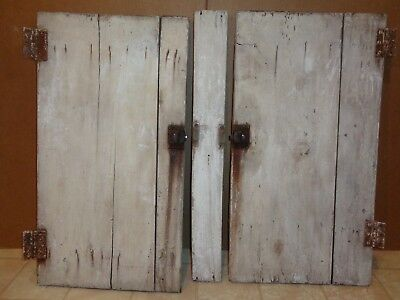 Vintage Shabby Cabinet Doors W/latches & Hinges & Center Post