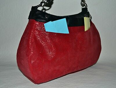 Custom Made 31 Thirty One SUITE Sz Purse SKIRT 2 Pocket~Tooled Faux Leather