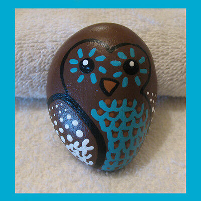 Handpainted HOOT OWL River Rock Stone Art Painted Wise Bird WHIMSICAL Novelty